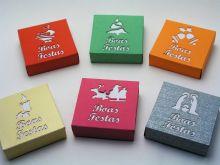 Caixas quadradas em cartolina para NATAL